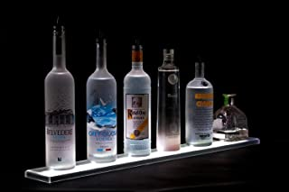 LED Liquor Shelf and Bottle Display (4 ft length) - Made in the USA - Programmable Shelving Includes Wireless Remote, Wall Mounts, and Power Supply - COMFORTABLY HOLDS 10 - 12 BOTTLES