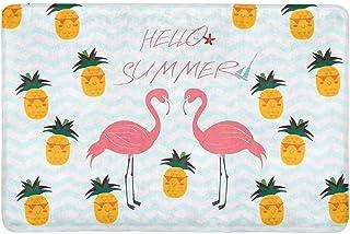 InterestPrint Hello Summer Flamingo and Pineapple in Blue Stripes Ocean Waves Doormat Indoor Outdoor Entrance Rug Floor Ma...