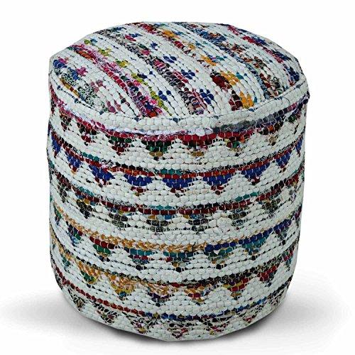 Homescapes Chindi Pouf Sitzhocker Fußhocker rund Ethno Look bunt Creme 45 cm Durchmesser 40 cm hoch
