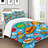 COLTEMC Juegos de Fundas para edredon,Ropa de Cama,Superhero Colorful Comic Style Icons Effects Boom Scream Magazine Signs Pop Art Illustarion,Fibrae Xtrafina,Edredones y 2 Almohadas