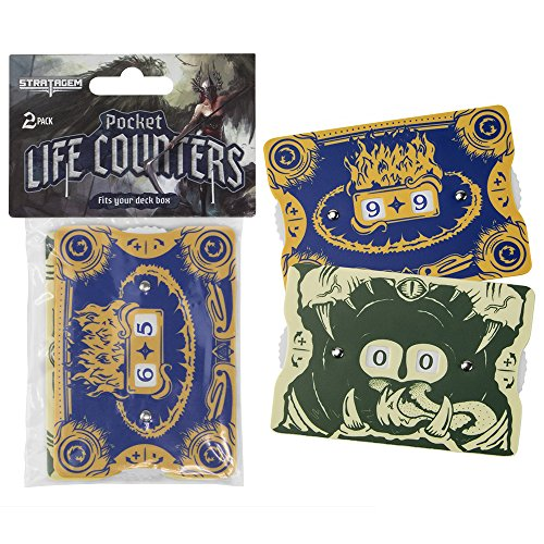 2-Pack Pocket Life Counters for Trading Card Games, Fits in a Deck Box by Stratagem
