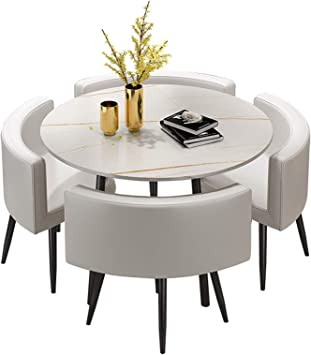 Amazon Com Yhs Dining Table Set Faux Marble Round Dining Room Table Set For 4 For Small Spaces Kitchen Table And Chairs Dining Room Table Modern Home For Restaurant White Table
