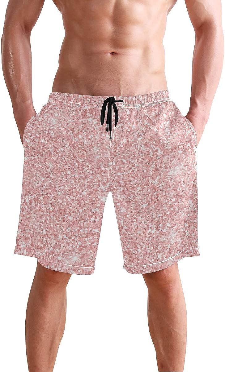 FCZ Mens Swim Trunks Rose Gold Glitter Pattern Beach Board Shorts