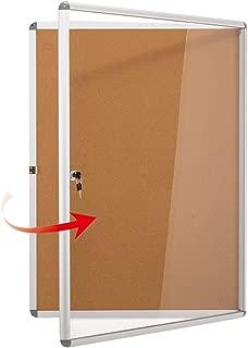 Swansea Enclosed Bulletin Board,Lockable Cork Noticeboard for School Office,Wall Display Case with Lock 20