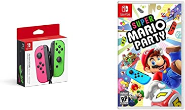 Nintendo Joy-Con (L/R) - Neon Pink / Neon Green Bundle with Super Mario Party