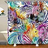 Loussiesd Cortina de ducha con diseño de cebra, diseño de animales salvajes, impermeable, poliéster, con 12 ganchos, 12 x 71 pulgadas, lavable a máquina