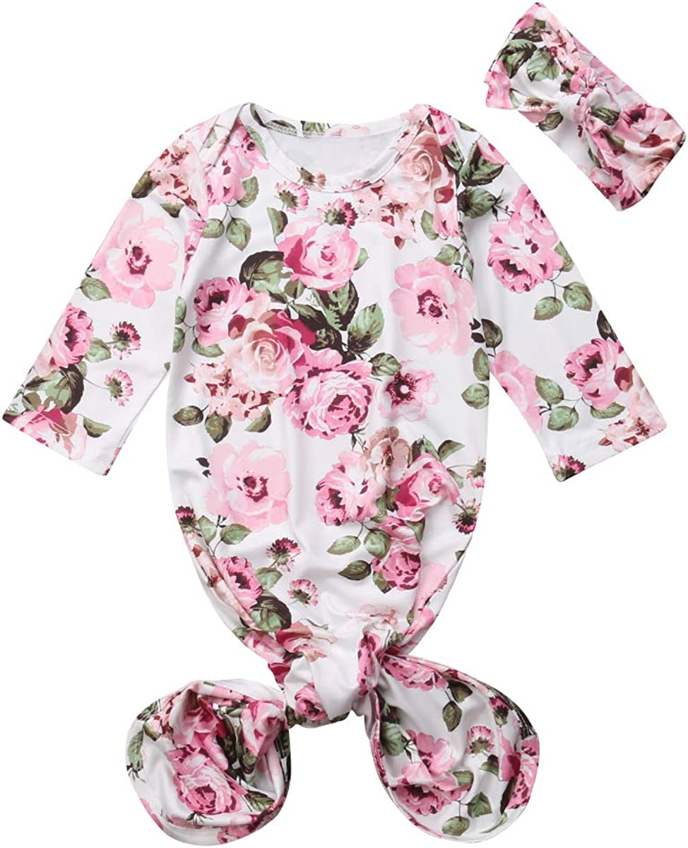 LIZHILI 0-6 Months Newborn Baby Girl Nightgown Floral Print Long Sleeve Gown Sleepwear Romper Sleeping Bags with Headband