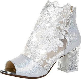Jamron Femmes Respirant Dentelle Peep Toe/Bout Fermé Talon de Chaton de Bloc Été Sandale Bottillons Escarpin Chaussure de ...
