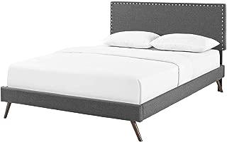 Modern Contemporary Urban Design Bedroom King Size Platform Bed Frame, Fabric, Grey Gray