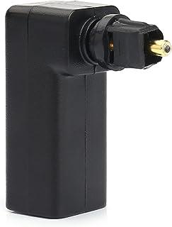 Maxhood - Adaptador Toslink digital óptico de ángulo recto, 360 grados, giratorio, adaptador de cable de audio óptico digital 1Pack dorado