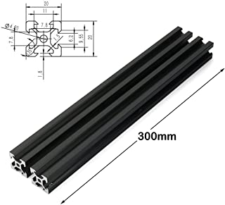 PZRT 2PCS Black 2020 V-Slot Aluminum Profile Extrusion Frame for CNC Laser Engraving Machine Woodworking DIY (300mm)