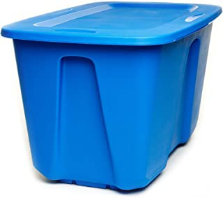 Homz Plastic Storage Tote with Lid, 32 Gallon, Blue, Stackable, 2-Pack