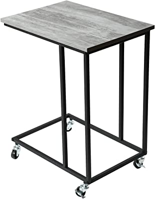Vintage Snack Side Table Mobile End Table For Coffee Laptop Tablet Slides Next To