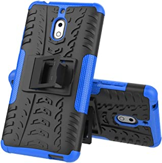 Nokia 2V (Verizon) Case, Lacass [Shockproof] Tough Rugged Dual Layer Protector Hybrid Case Cover with Kickstand for Nokia 2.1 TA-1084 (Blue)