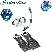 TUSA Sport Adult Splendive Mask, Dry Snorkel, and Fins Travel Set