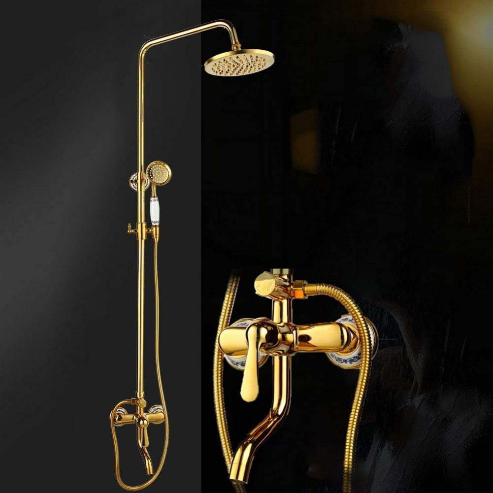 ZKAIAI Bath Fixtures Water Saving Brass gild made of Easy-to-use set shower Max 56% OFF