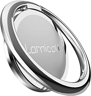 Phone Ring Holder, Lamicall Finger Ring Stand : Universal Cell Phone Cradle Kickstand Compatible with Phone Xs Max XR X 8 7 6 6s Plus 5s, Samsung Galaxy S8 S7 S6, All Android Smartphone - Silver - 02