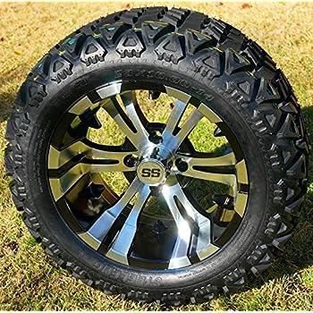 "14"" VAMPIRE Machined/Black Aluminum Wheels and 23x10-14"" DOT All Terrain Golf Cart Tires Combo - Set of 4 (New Style 5-Spoke Vampire!)"