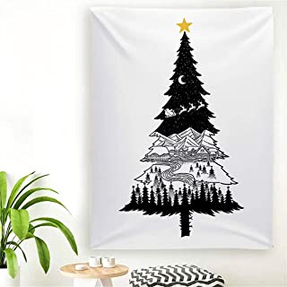 Baccessor Christmas Tapestry Wall Hanging,Pine Tree with Snowy Forest Mountains River Houses Santa Clause Reindeer Sleigh in Xmas Eve Backdrop for Festival Party,80