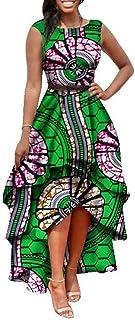 8ba01a4f324 Dellytop Womens African Dress Dashiki Print Sleeveless High Low Sexy Prom  Long Dresses