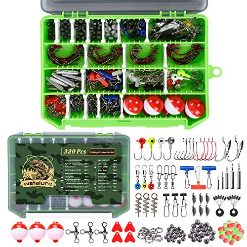 246/329pcs Fishing Accessories Equipment Kit Including Sinker Bullet Weights,Fishing Swivels Snap,Sinker Slides,Jig Hook,Fishing Tackle Box for Bass Trout Freshwater Saltwater (329PCS)