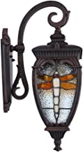 BAYCHEER Tiffany Wall Sconce with Dragonfly Pattern Tiffany sconces Wall Lighting Brown Outdoor Wall Lamps Wall Light Waterproof Light for Garden Porch Villas Court-Yard 18.5inch