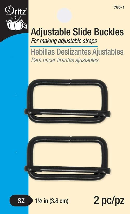 Dritz 780-1 Adjustable Slide Buckles for 1-1/2-Inch Straps, Matte Black 2-Count