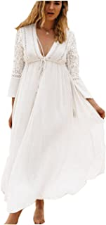 Robe longue blanche dentelle chic