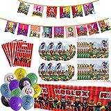 Accessoires de fête Ro-blox Décorations Faveurs de fête d'anniversaire incluses Bannière Ro-blox, ballons, nappe, sacs-cadeaux et serviettes, le pack de fournitures peut accueillir 10 invités