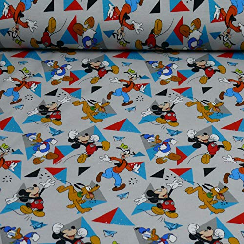 Disney Jersey Micky, Donald, Goofy, Öko-Tex Standard 100, grau (25cm x 160cm)