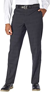 Kirkland Signature Men's 100% Wool Flat Front Dress Pants (42x32, Charcoal)