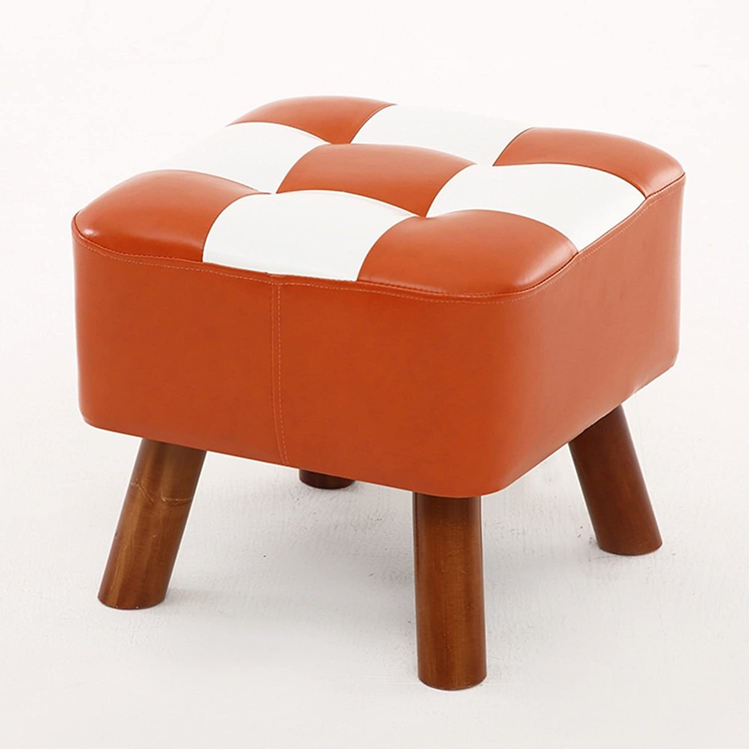 LJHA ertongcanyi Solid Wood Creative Stable Footstool Simple High Resilience Sofa Stool Bedroom Dressing Stool Doorway Square Changing shoes Stool (6 colors Optional) (color   D)