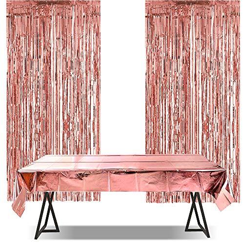 iZoeL Rosegold Glitzer Vorhänge 2 Stück + Tischdecke 1m*2.7m Rosa Gold Party Dekoration Geburtstag Hochzeit Braut Shower