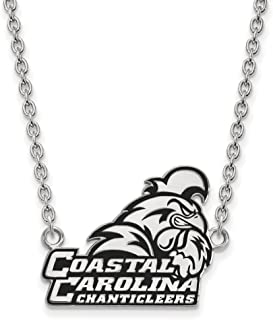 Sterling Silver Rhodium Plated LogoArt Coastal Carolina University Large Enamel Pendant With Necklace - 18 Inch