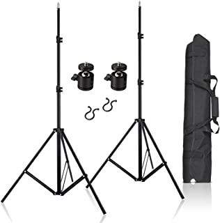 "2pcs 80inch Adjustable Aluminium Alloy Light Stands with 1/4"" Mount Ball Head, Carrying Bag and Wire Harness Clips Vive Ac..."