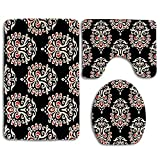 Damasco Motivos abstractos a la antigua usanza Moda medieval floral Victoriana 3 piezas Juego de alfombrillas de baño Alfombra de baño antideslizante Alfombra de contorno Alfombrilla de baño Tapa de l