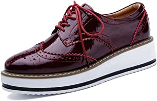 YING LAN Women's Platform Lace-Up Wingtips Square Toe Oxfords Shoe Red Size: 9