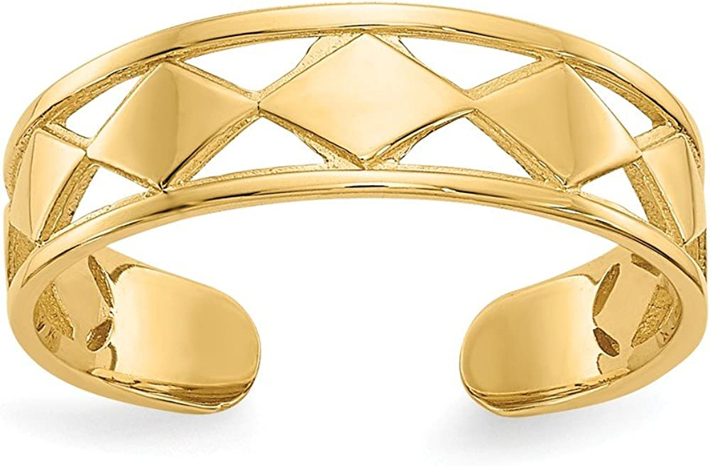 14K Yellow Gold Diamond Shapes Toe Ring