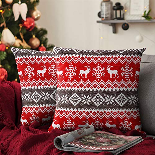 Ashley Mills Christmas Soft Cotton Chenille Tapestry Cushion Cover Xmas Festive Scatter Cushions Nordic Santa Reindeer Stag Snowman (2x Small Covers Only, Nordic Red Grey)