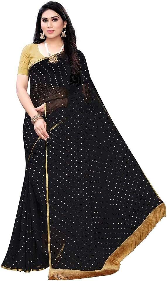 Indian Anni Designer Women's Black Color Chiffon Saree With Blouse (TWICE BLACK_Free Size) Saree
