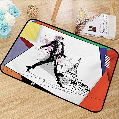 hengshu Eiffel Tower Inlet Outdoor Door mat A Girl Walking in The Streets of Paris Sketch Style Romantic Eiffel Tower Image Catch dust Snow and mud W31.5 x L47.2 Inch Orange