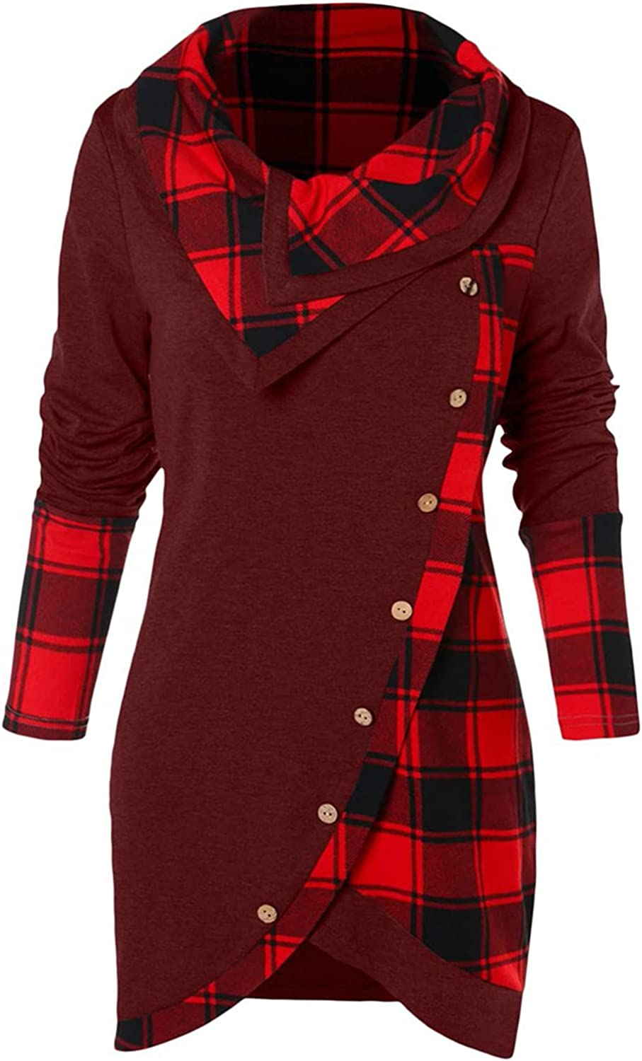 Sweatshirts for Women, Ladies Plaid Patchwork Long Sleeve Sweatshirt Bow-Neck Pullover Tops Blouses Buttons Shirts