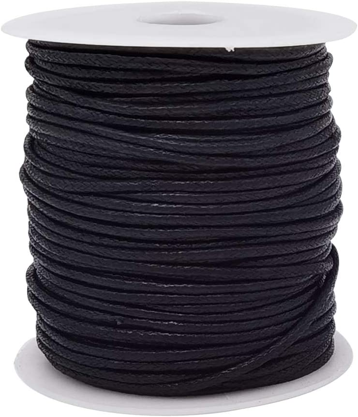 INSPIRELLE 50 Yards 2mm Excellent Black Translated Waxed B Cord Jewelry Making Cotton