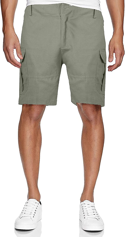 Men's Casual Shorts Summer Slim Elastic Waist Zipper Resilience Cargo Shorts with Pocket