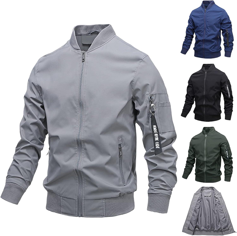 Windbreakers Male Windproof Waterproof Lightweight Jacket for Men Casual Solid Long Sleeve Bomber Jackets Zipper Coat