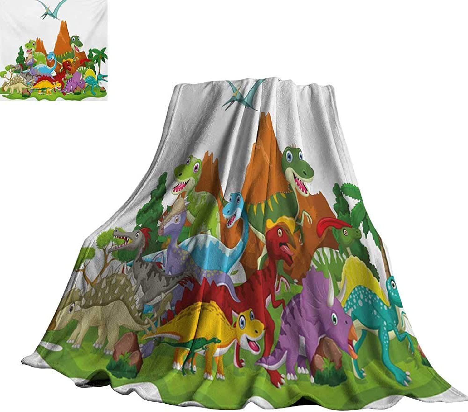 RenteriaDecor Dinosaur,Digital Printing Blanket Funny Friendly Dinosaurs in Cartoon Style and Landscape with Trees and Mountain Comfortable and Warm Beach Blanket 70 x50