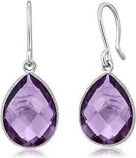 925 Sterling Silver Amethyst Dangle Earrings, 13.00 Ctw Faceted Pear Shape 16X12MM Gemstone Birthstone