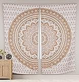 Sophia Art Indian Ombre Mandala Hippie Cortinas bohemias psicodélicas cortina india cortina de ventana cortina hecha a mano Panel de cortina (dorado)
