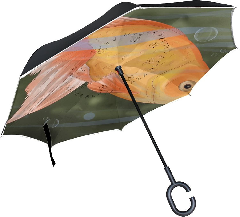 Animal Fish Common goldfish Pretty Beautiful Funny Cute Pet Ingreened Umbrella Large Double Layer Outdoor Rain Sun Car Reversible Umbrella