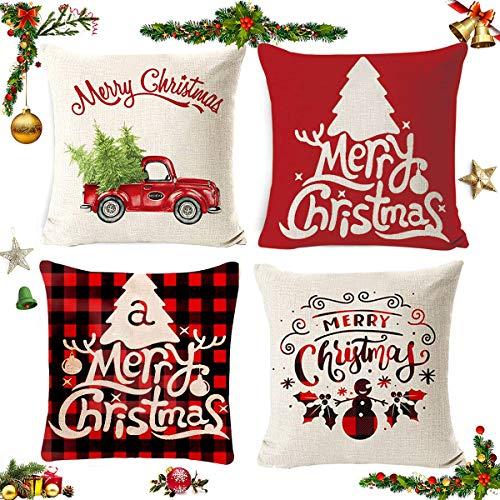 4 piezas Navidad, fundas de almohada de lino de algodón, funda de almohada Decoración de Feliz Navidad con muñeco de nieve Elk Santa Claus patrón 45 * 45cm
